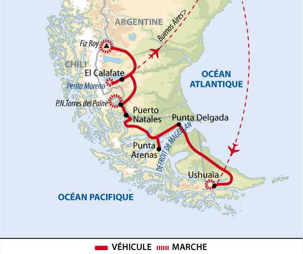 Carte de voyage de la Terre de feu au Fitz Roy en Patagonie