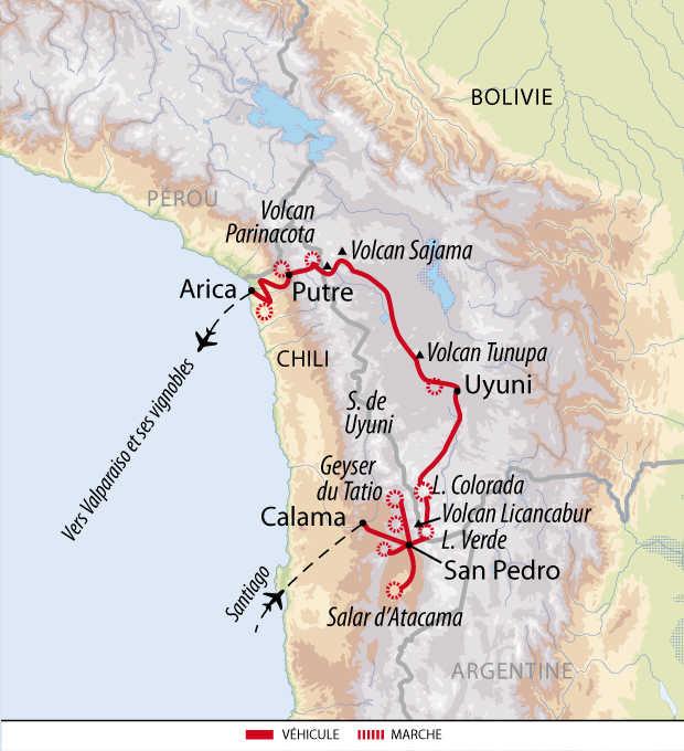 Carte de voyage en Atacama