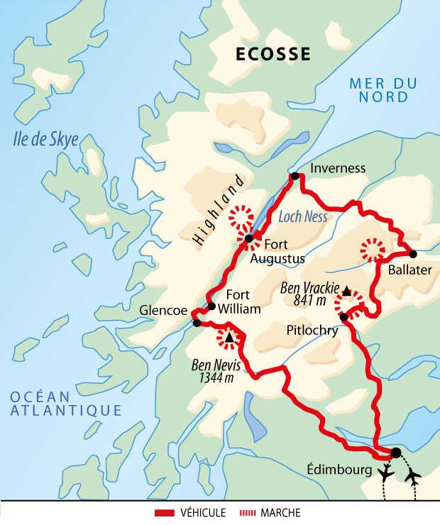 Carte de voyage en Ecosse