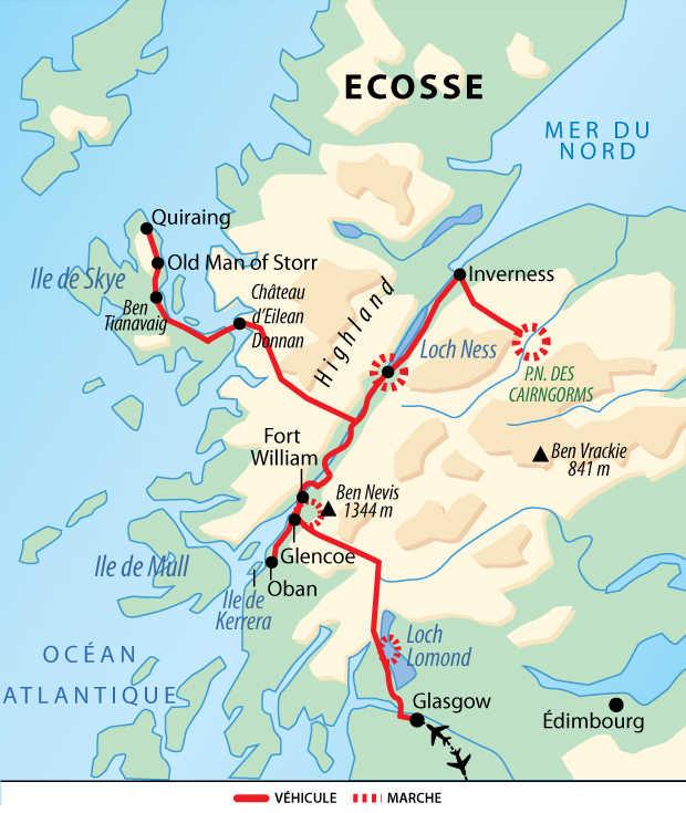 Carte de voyage en Ecosse  en camping car