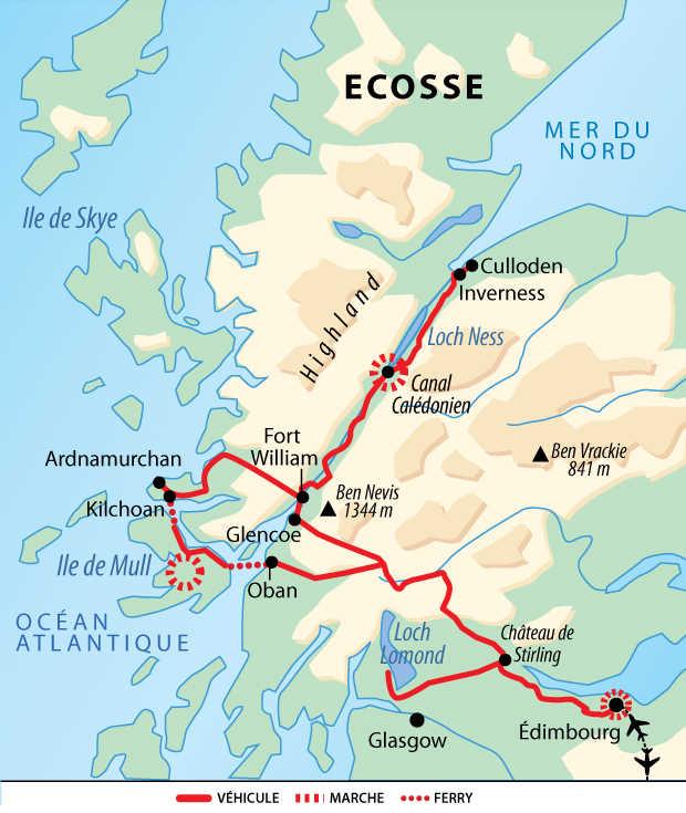 Carte de voyage en Ecosse en famille en liberté