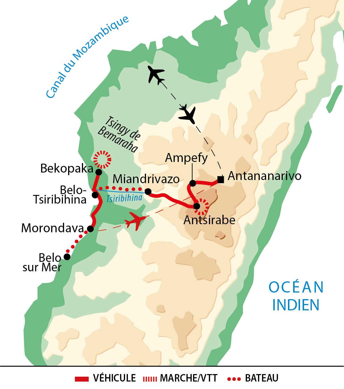 Carte de voyage en famille à Madagascar