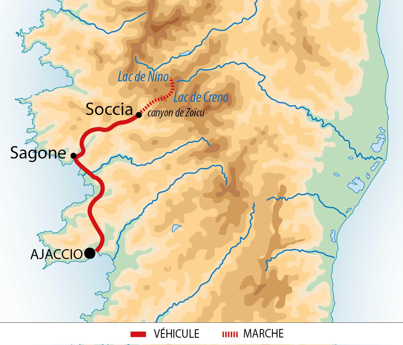 Carte de voyage en famille en Corse