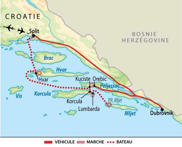 Carte de voyage en famille en Croatie