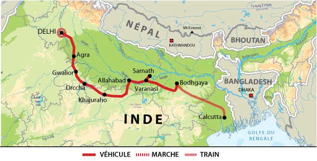 Carte de voyage en Inde en indidivuel IGANCIND