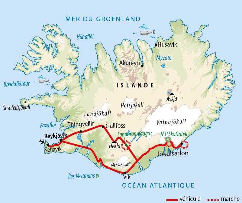 Carte de voyage en Islande en famille