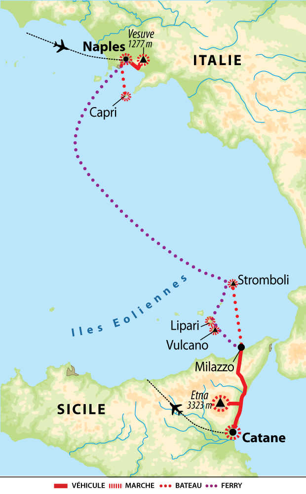 Carte de voyage en Italie et Sicile
