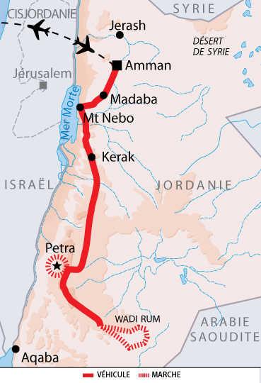 Carte de voyage en Jordanie