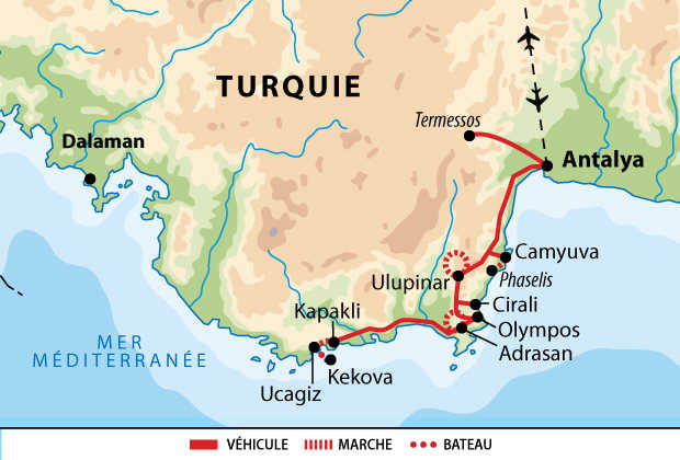 Carte de voyage en Lycie en Turquie