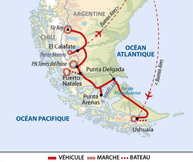 Carte de voyage en terres australes