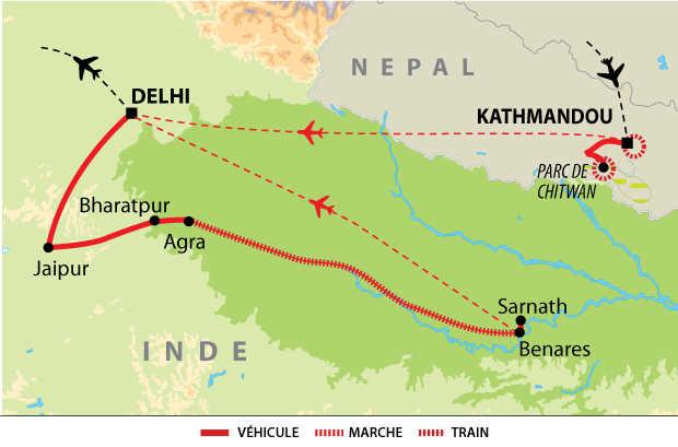 Carte de voyage en terres sacrées, de Katmandou à Bénarès