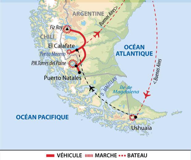 Carte de voyage entre Argentine et Chili : Patagonie