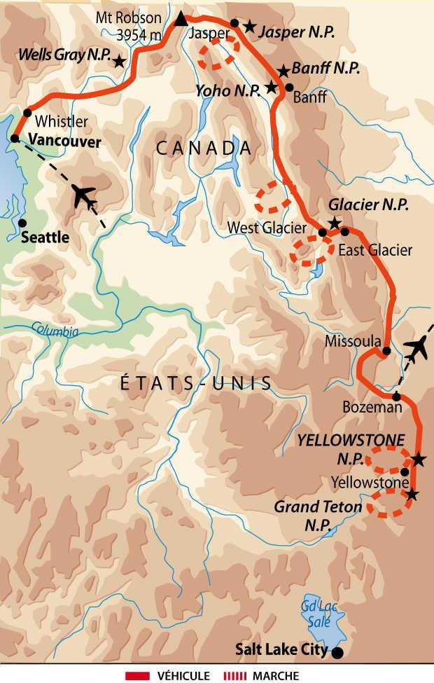 Carte de voyage entre Canada et Etats-Unis