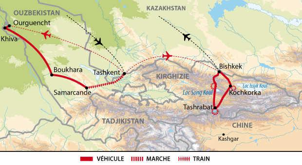 Carte de voyage entre l'Ouzbékistan et la Kirghizie