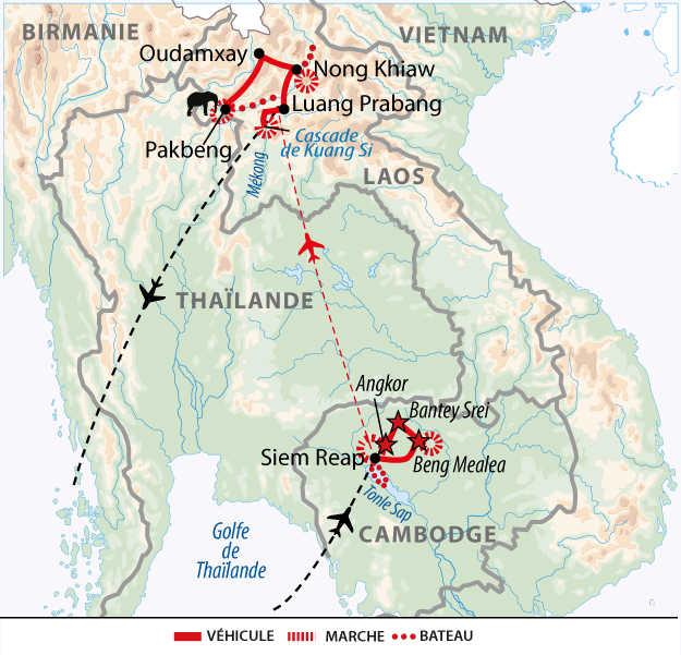 Carte de voyage entre Laos et Cambodge