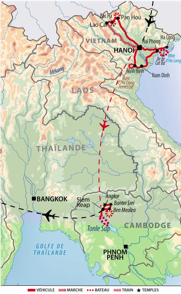 Carte de voyage entre les montagnes du Haut Tonkin et les temples d'Angkor