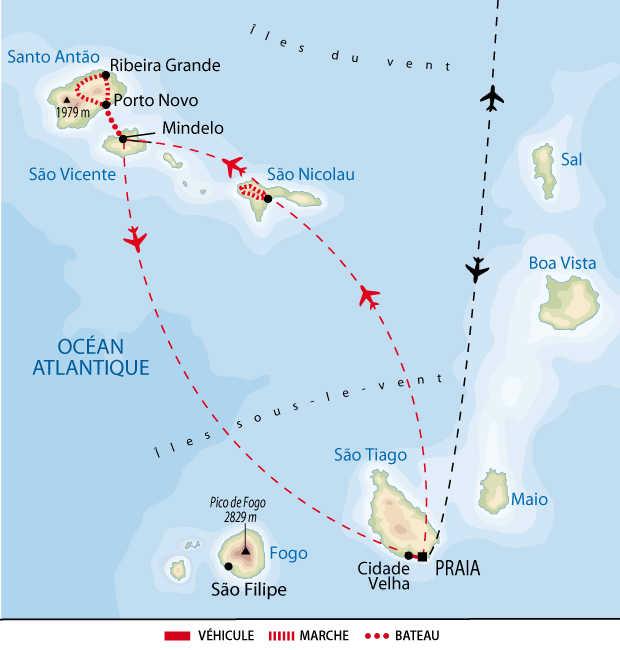 Carte de voyage entre Sao Nicolau et Santo Antao