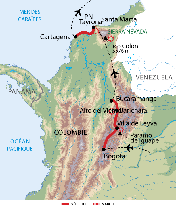 Carte De voyage entre Sierras et Caraïbes en Colombie sur 2 semaines