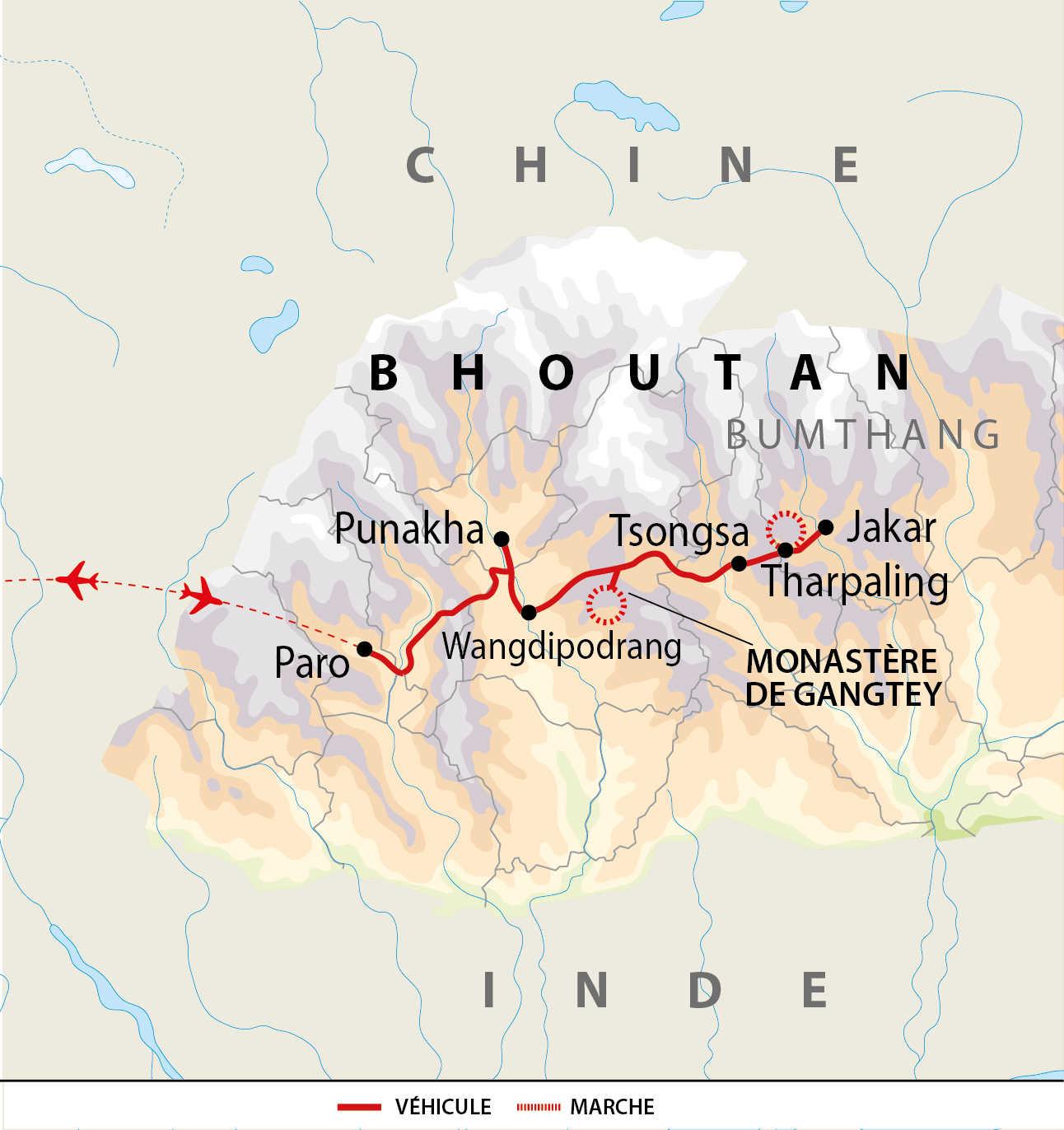 Carte de voyage festival au Bhoutan