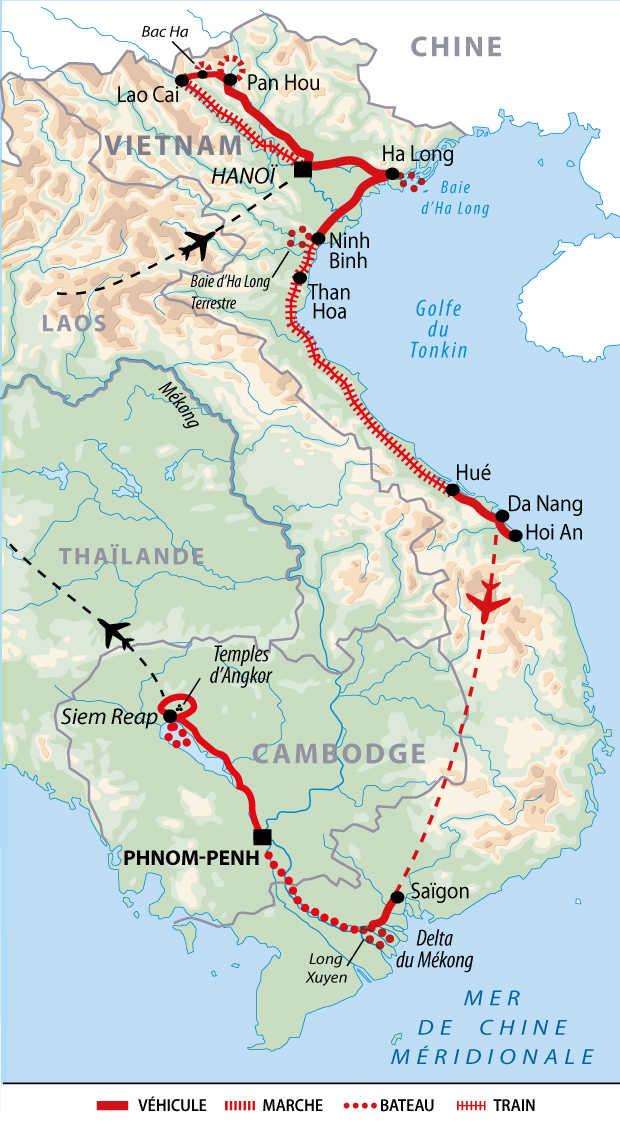 Carte de voyage grande découverte du Vietnam et du Cambodge