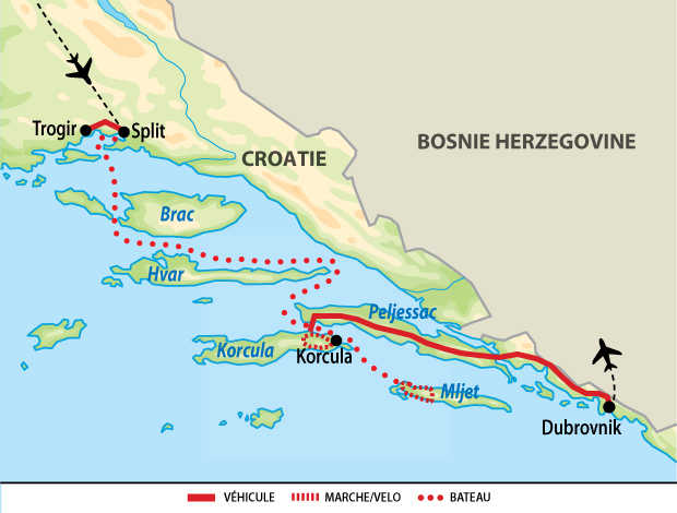 Carte de voyage multiactivités kayak, vélo et rando en Croatie