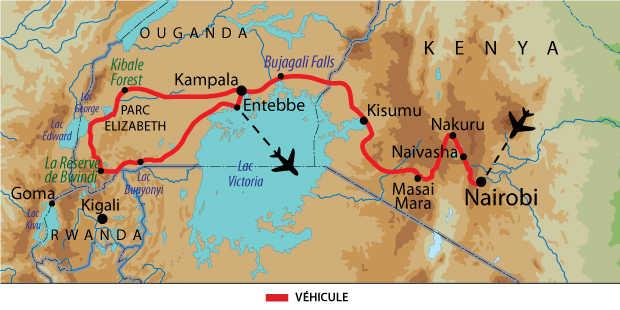 Carte de voyage safari et expédition entre Kenya et Ouganda
