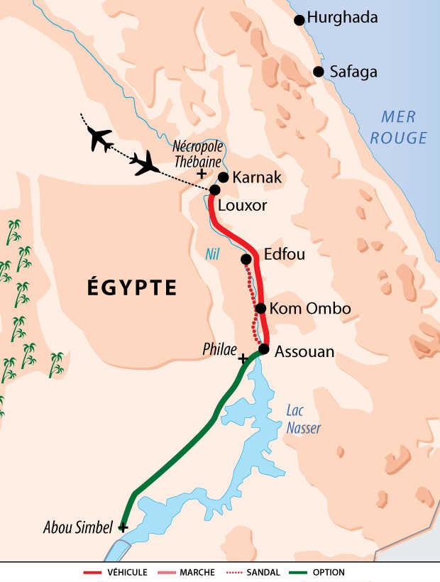 Carte de voyage sur le Nil en Sandal