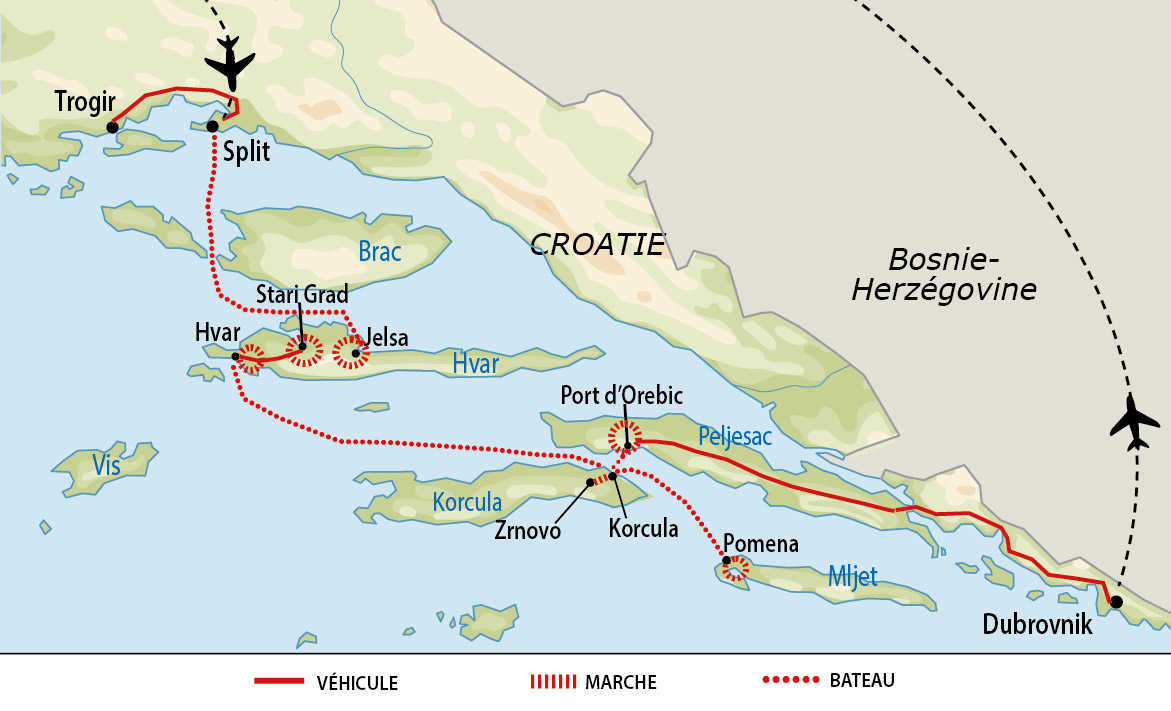 Carte de voyage sur les îles de Hvar, Mljet et Korcula