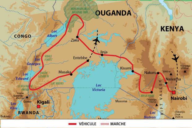 Carte de voyage Wahou entre Kenya et Ouganda