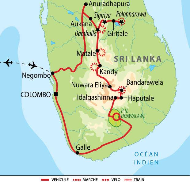 Carte de voyage zen au Sri Lanka