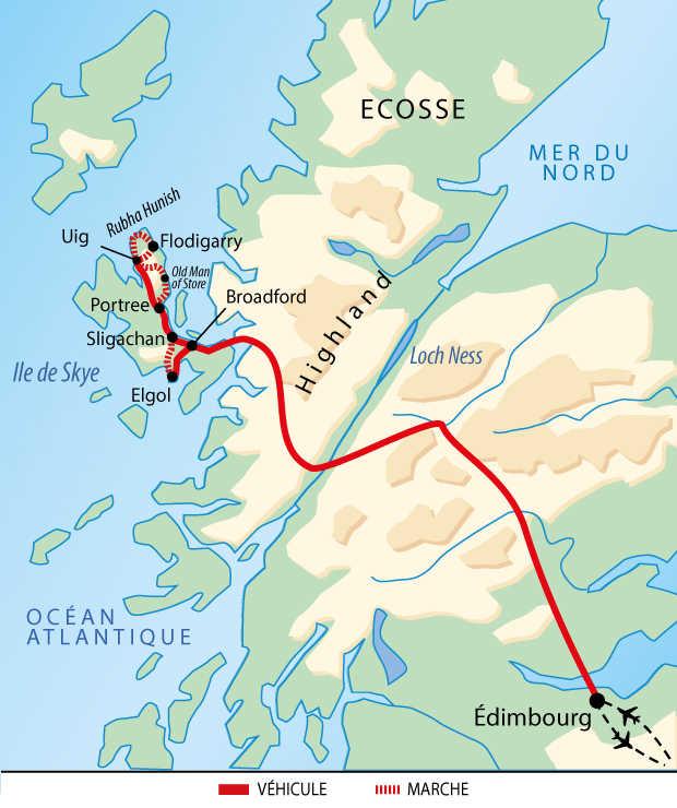 Carte d'Ecosse : Itinérance sur l'île de Skye