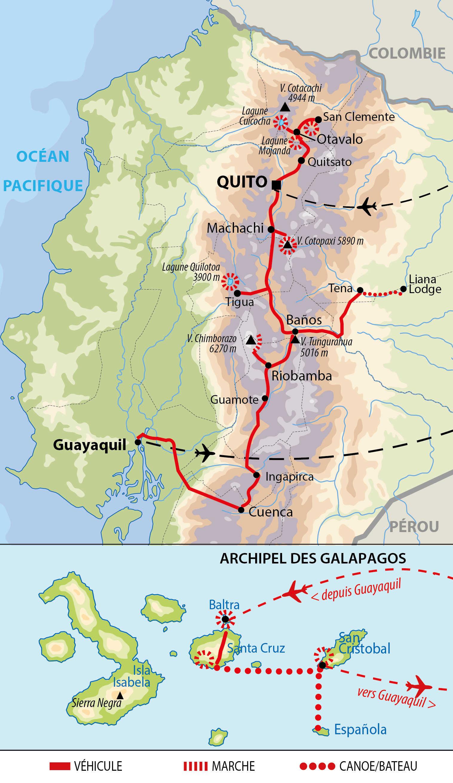 Carte d'Equateur : Andes, Amazonie, Cuenca et Galápagos