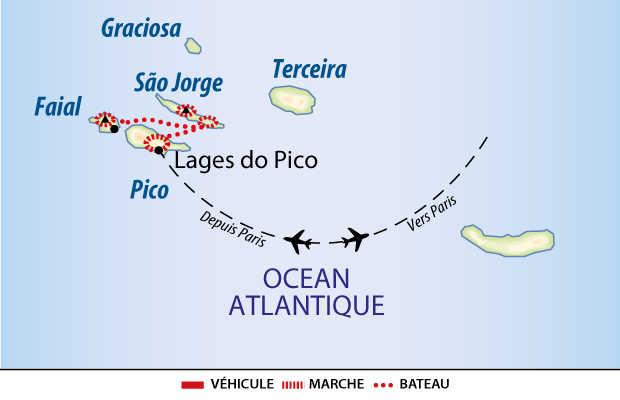 Carte des 3 îles Pico, Faial et Sao Jorge aux Açores