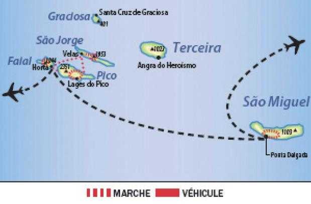 Carte des Açores : Sao Miguel, Sao jorge et Faial