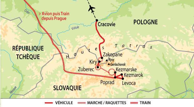 Carte des Hautes Tatras en raquettes