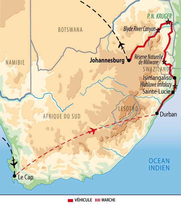 Carte des incontournables de l'Afrique du Sud