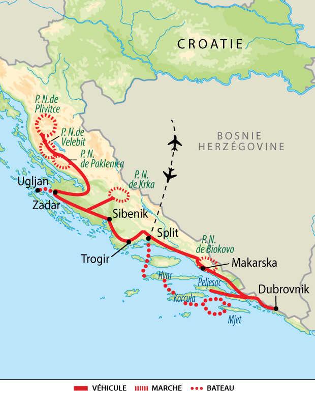 Carte des parcs du nord aux îles de la Dalmatie