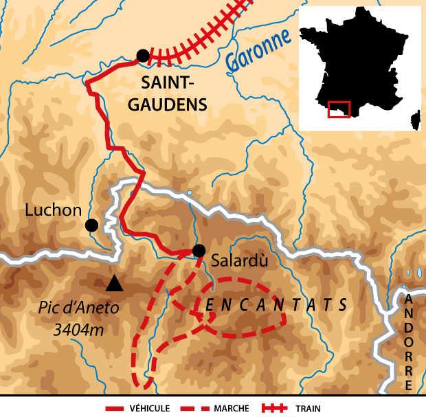 Carte des Pyrénées espagnoles - Aigues Tortes