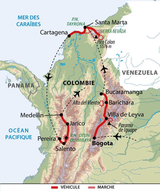 Carte des randonnées colombiennes
