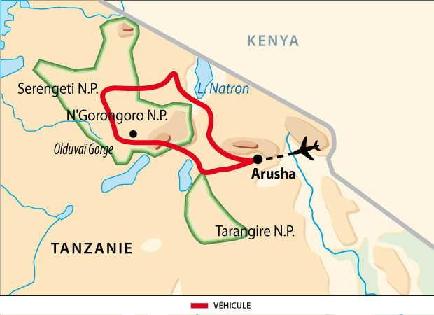 Carte des safaris incontournable en Tanzanie