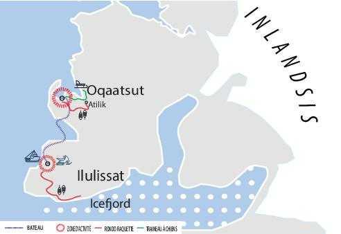 Carte détaille voyage au Groenland