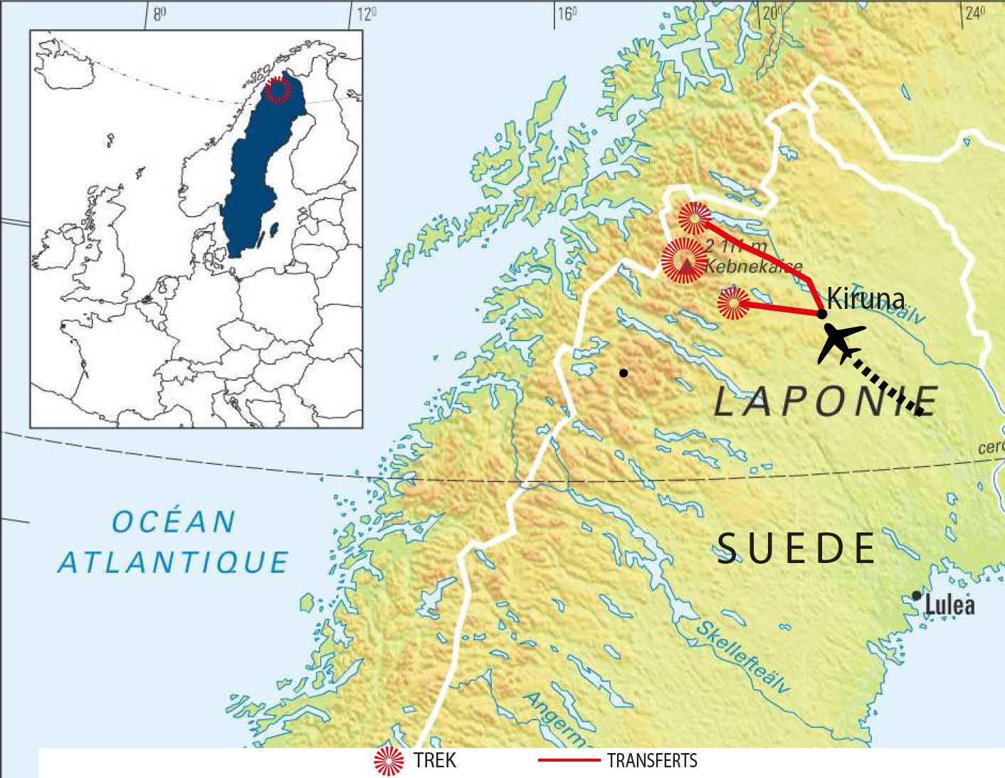 Carte détaillée du trek de la Kungsleden