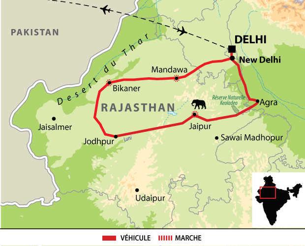 Carte d'Inde IRAJIND2 : voyage sur mesure en famille