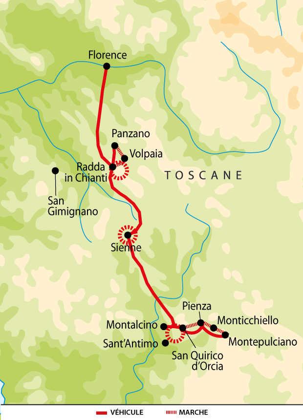 Carte du circuit de la Toscane