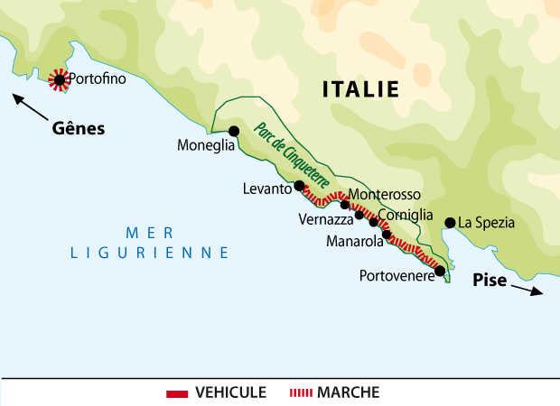 Carte du circuit des Cinque Terre