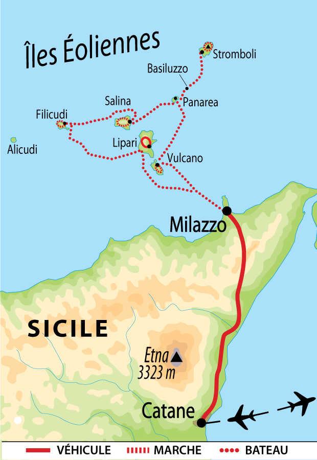 Carte du circuit des îles éoliennes
