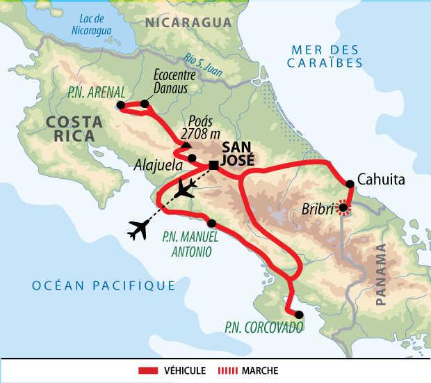 Carte du circuit en famille au Costa Rica