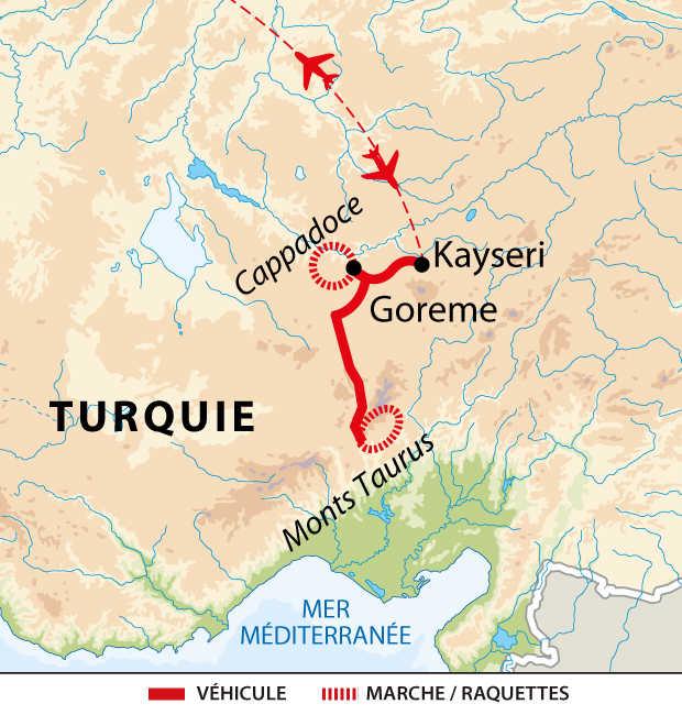 Carte du circuit en raquettes en Turquie