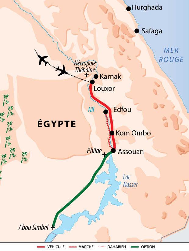 Carte du circuit sur le Nil en Dahabieh