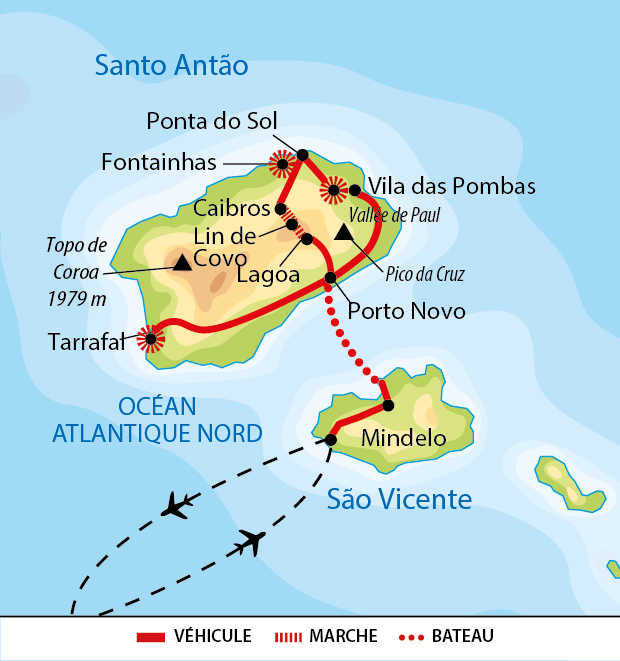 Carte du circuit sur Santo Antao